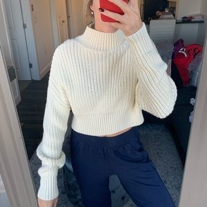 White Turtleneck Chunky Sweater Lovers + Friends